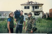With TV 10 Reporter Susan Koppen in Bosnia, 1996