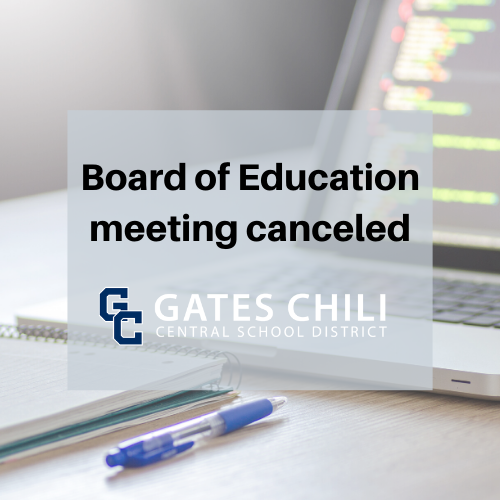 computer in the background with words stating Board of Education meeting canceled