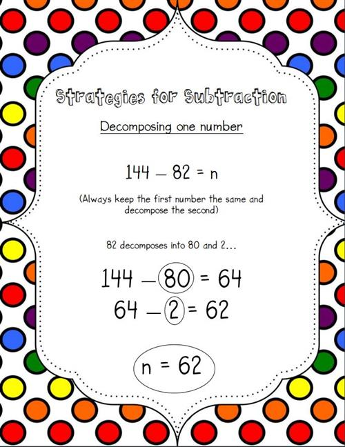 Subtraction Decomposing one number