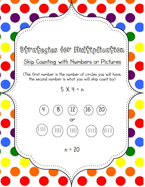 Multiplication skip counting with numbers or pictures